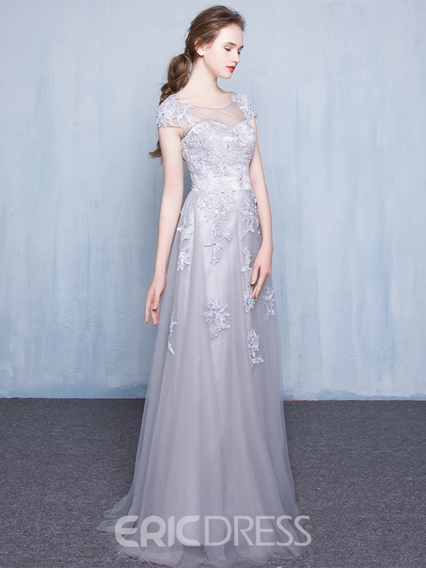 Ericdress Sheer Neck Appliques Beading Cap Sleeves Prom Dress