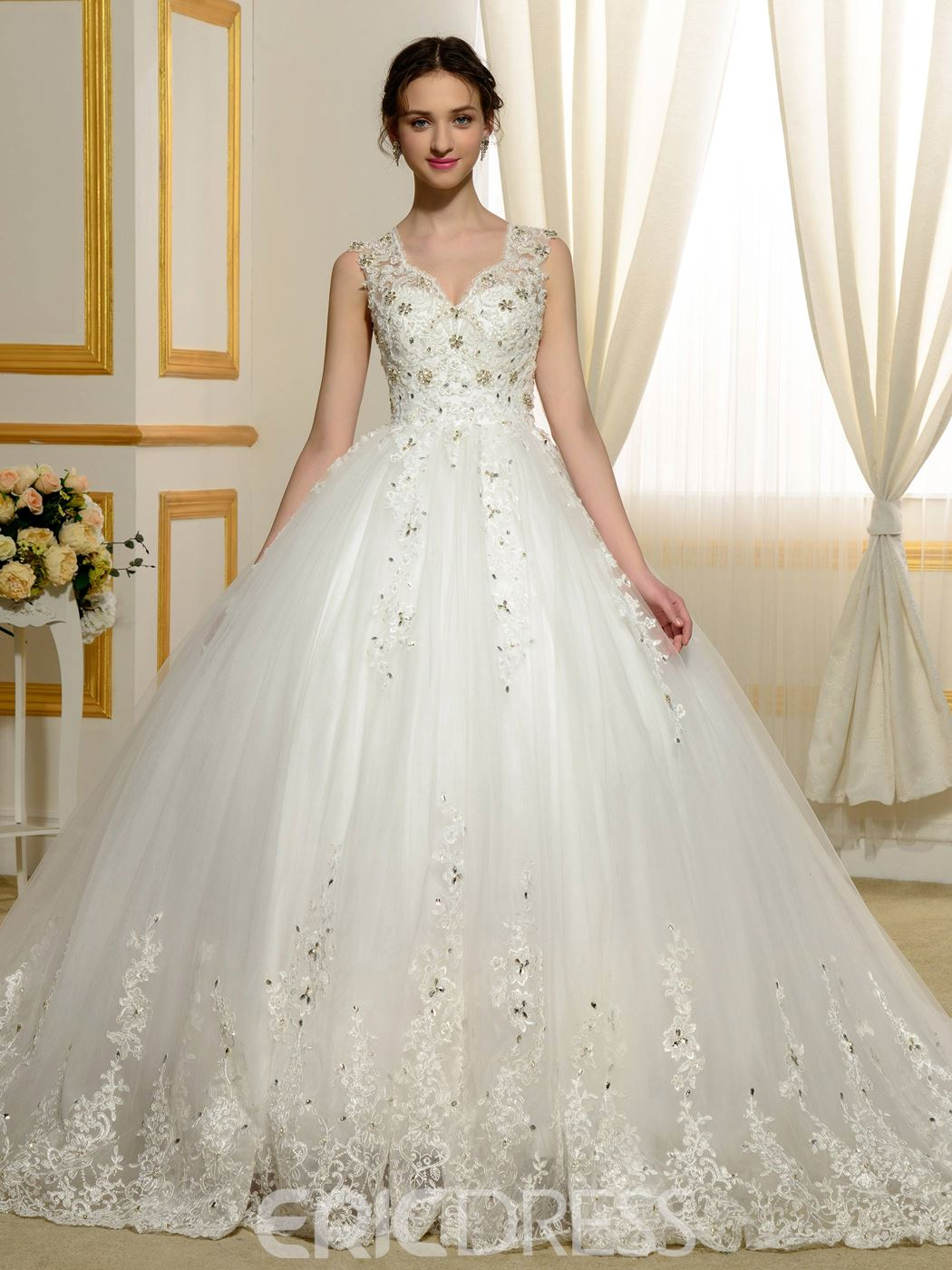 Ericdress Gorgeous Appliques Beading Sheer Back Wedding Dress ...
