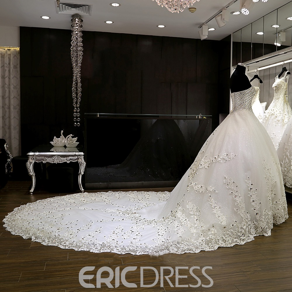 Ericdress Luxury Sweetheart Beaded Ball Gown Wedding Dress