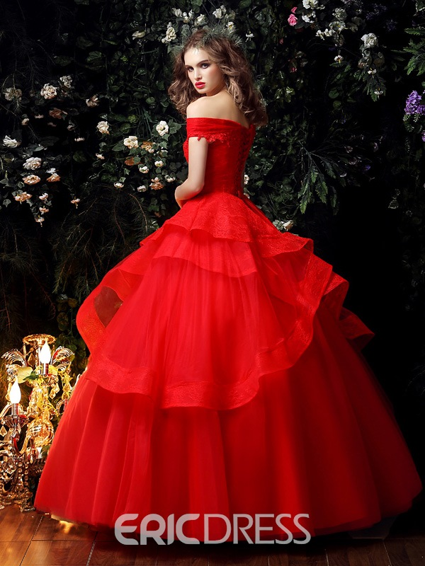 Ericdress Off the Shoulder Lace Red Ball Gown Wedding Dress