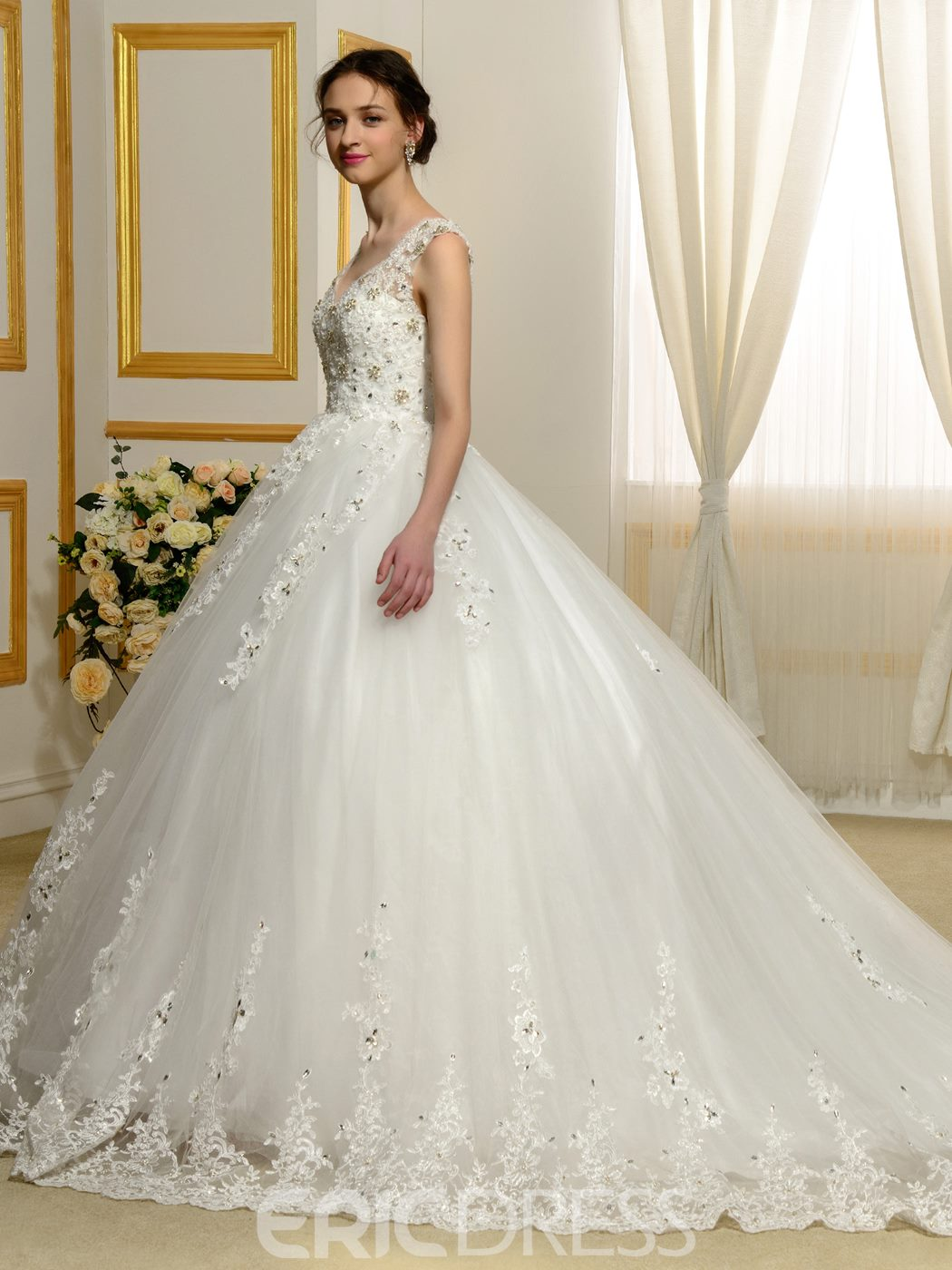 Ericdress Gorgeous Appliques Beading Sheer Back Wedding Dress