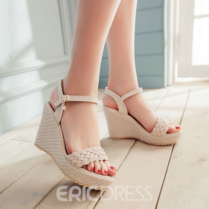Ericdress Bright stricken Ankle Strap Keil Sandalen