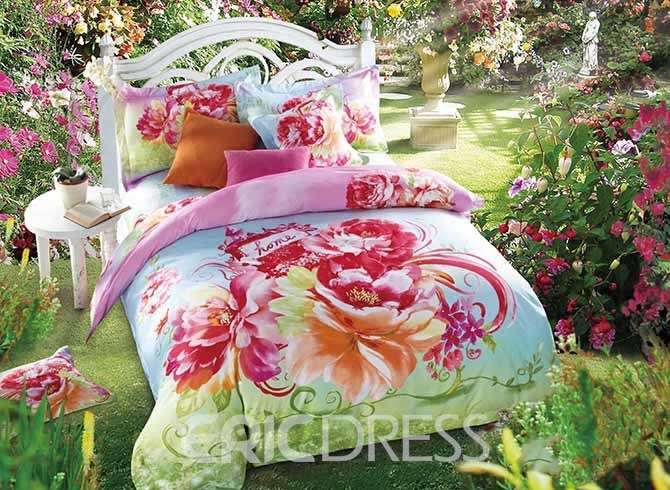 Vivilinen 3D Pink Blooming Peonies Printed Cotton 4-Piece Blue Bedding Sets/Duvet Cover