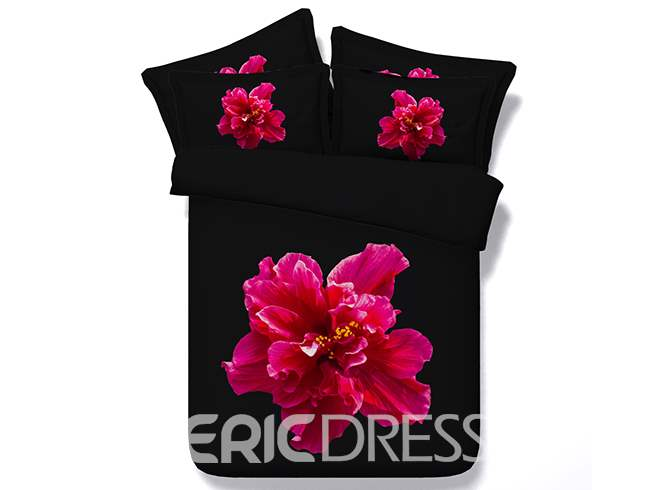 Vivilinen 3D Hot Pink Flower Printed Cotton 4-Piece Black Bedding Sets/Duvet Cover