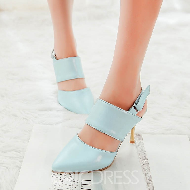 Ericdress Chic PU Buckle Pointed-Toe Stiletto Sandals