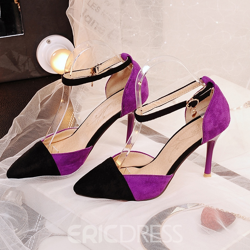 Ericdress Ladylike Point Toe Patchwork Stiletto Sandals
