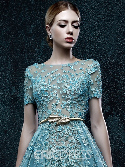 Ericdress Short Sleeves Appliques Beaded Evening Dress With Court Train