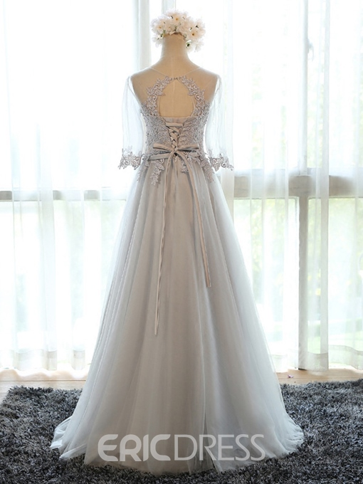 Ericdress Sheer Neck Appliques Long Bridesmaid Dress