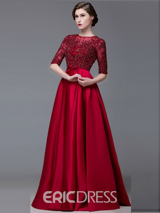Ericdress Jewel Neck Half Sleeves Appliques A-Line Long Evening Dress