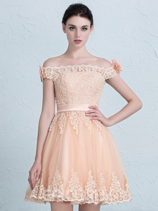 Ericdress Off-the-Shoulder A-Line Bow Lace Short Homecoming Dress