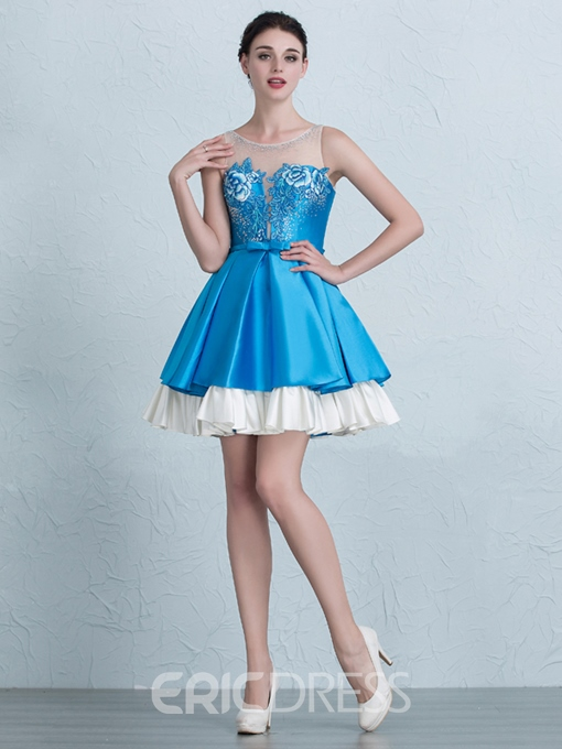 Ericdress A-Line Scoop Neck Embroidery Short Homecoming Dress