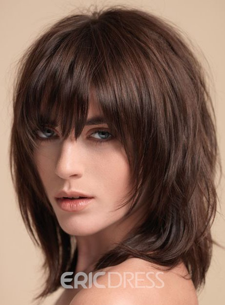 Ericdress Layered Shag Hairstyle with Full Fringe Middle Length Synthetic Capless Women Wigs