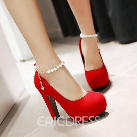 Ericdress Suede Pearl Ankle Strap Prom Shoes