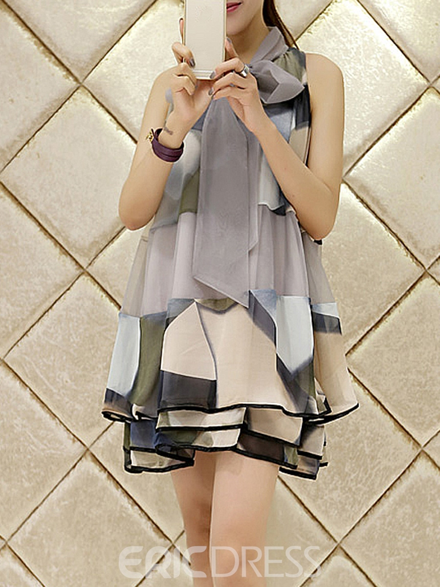 Ericdress Print Lace-Up A-Line Casual Dress