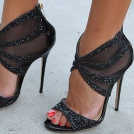 Ericdress Mesh Black Back Zipped Stiletto Sandals