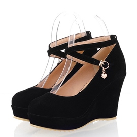 Ericdress Suede Round Toe Wedge Heel Pumps
