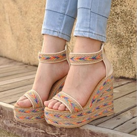 Ericdress Bohemian Knitting Wedge Sandals