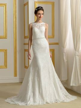 Ericdress Charming Jewel Backless Lace Wedding Dress