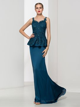 Ericdress Mermaid Appliques Beaded Ruffles Evening Dress