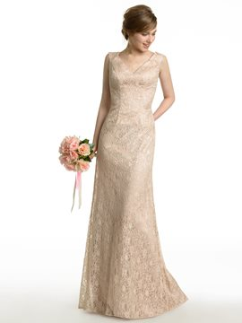 Ericdress Charming V Neck Sheath Lace Bridesmaid Dress