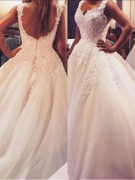 Ericdress Court Lace Ball Gown Straps Hall Wedding Dress