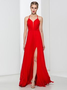 Ericdress Halter Split-Front Red Prom Dress