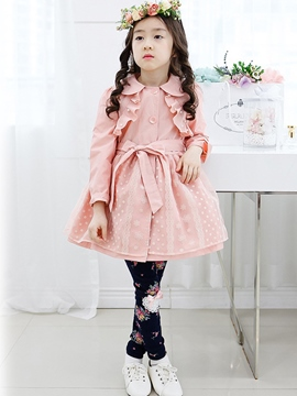 Ericdress Polka Dots Mesh Patchwork Girls Trench Coat