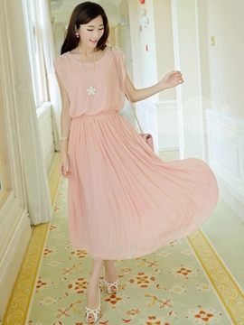 Ericdress Plain Pleated Bead Maxi Dress