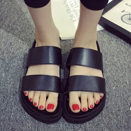 Ericdress Black Pu Flat Slippers