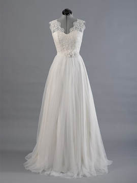 Ericdress Floor-Length Sleeveless V-Neck Flowers Beach Wedding Dress