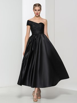 Ericdress One Shoulder Lace Pleats Ankle-Length Evening Dress