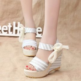 Ericdress Strip Patchwork Wedge Sandals with Bowknot