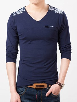 Ericdress Slim V-Neck Long Sleeve Men's T-Shirt
