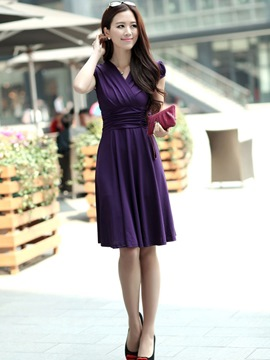 Ericdress Plain Pleated Skater Casual Dress