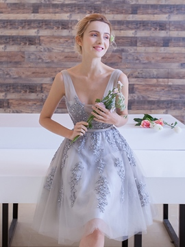 Ericdress Straps Appliques Beading Short Homecoming Dress