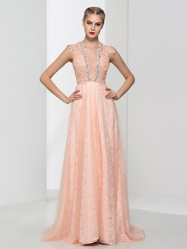 Ericdress V-Neck Appliques Beaded Lace Prom Dress