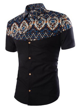 Ericdress Ethnic Printed Short Sleeve Men's Shirt