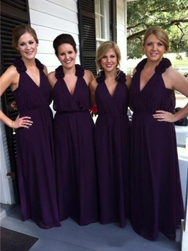 Sleeveless A-Line Flowers Bridesmaid Dress