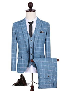 Ericdress Notched Lapel Three-Piece Plaid Slim Men's Suit