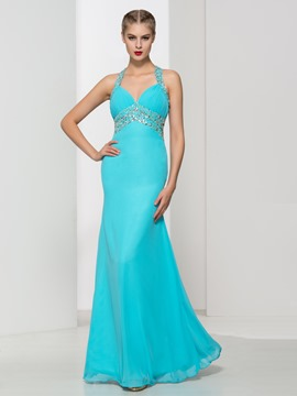 Ericdress Beading Pleats Criss-Cross Straps Prom Dress