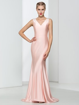 Ericdress V-Neck Beading Mermaid Evening Dress
