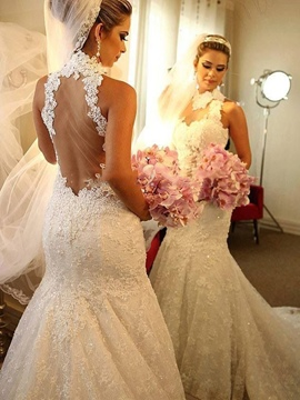 Ericdress Mermaid Lace High Neck Wedding Dress