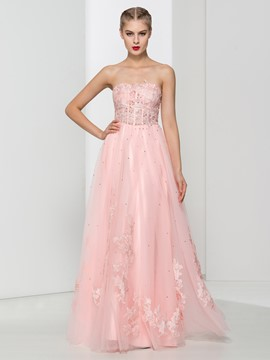 Ericdress Sweetheart Appliques Beading Pink Prom Dress