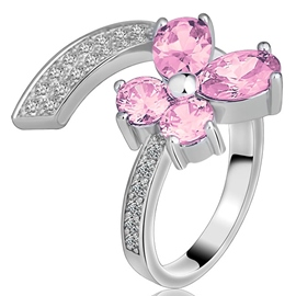 Ericdress Four-leaf Clover Rhinestone Open Ring