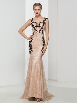 Ericdress Sheer Neck Appliques Mermaid Lace Evening Dress