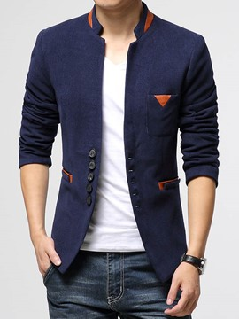 Ericdress parches chaqueta Slim Stand Collar hombres