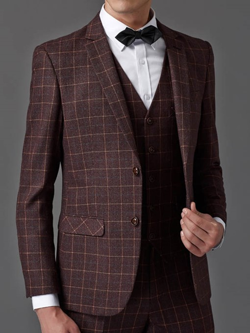 Ericdress British Style Elegant Plaid Three-Piece of Men's Suit
