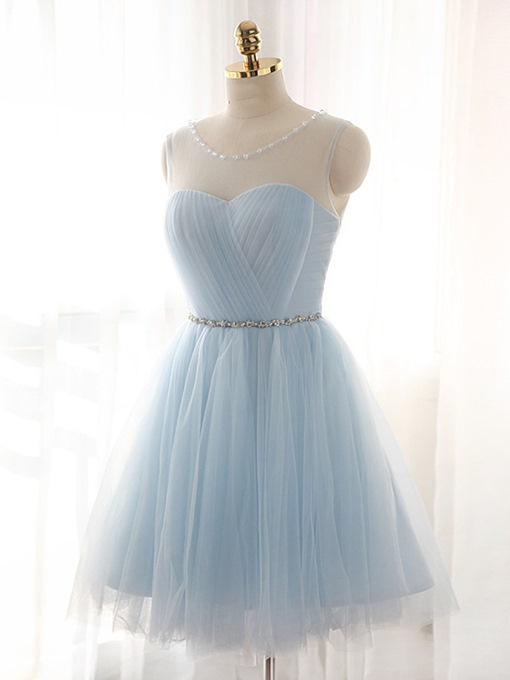 Ericdress Scoop Neck Beaded Pleats Homecoming Dress