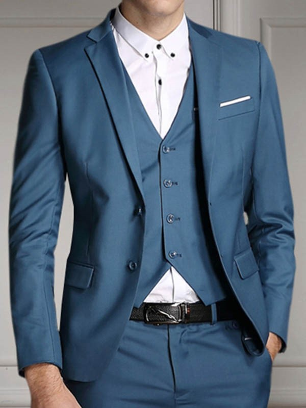 Ericdress Solid Color Three-Piece of Mens Suit
