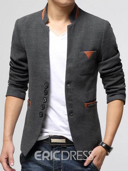 Ericdress Patchwork Slim Stand Collar Men's Blazer